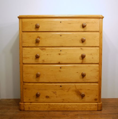 antique victorian tall pine chest of five drawers 1880