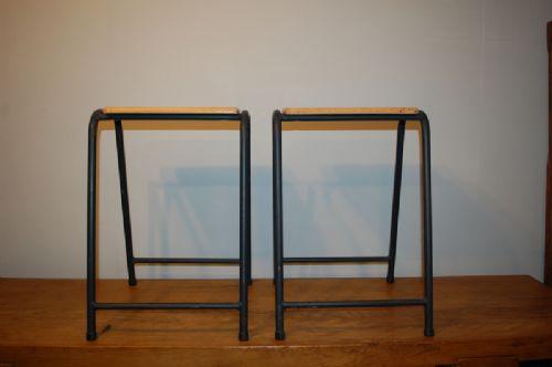 pair of vintage retro birch and steel school lab stools 1950