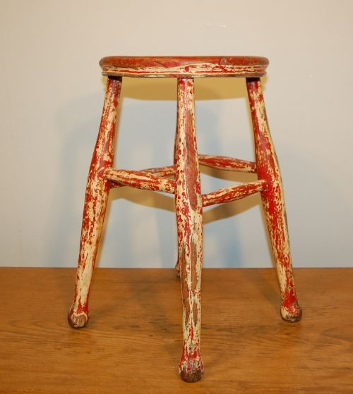 antique victorian four leg elm stool in old paint 1880