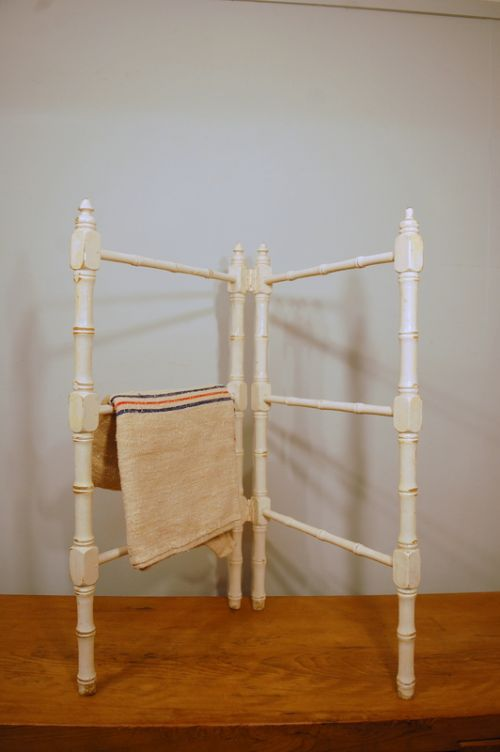 antique french faux bamboo folding towel rail 1880