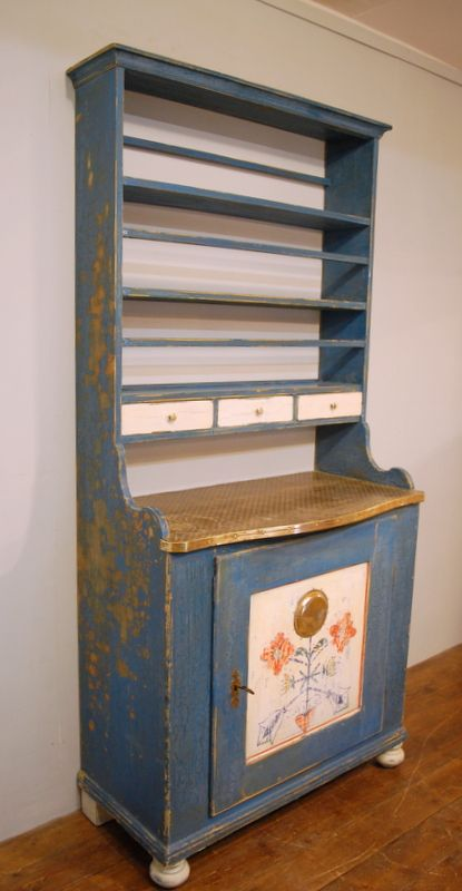 antique small rustic pine kitchen dresser in original decorative paint 1850