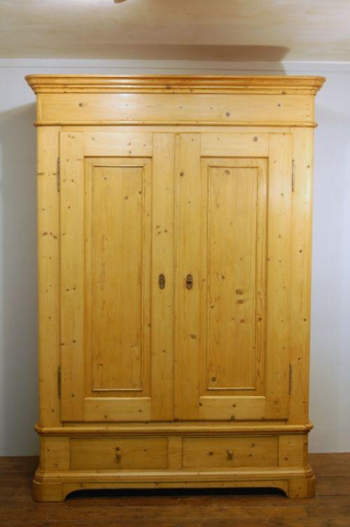 antique northern european pine double wardrobe armoire 1870