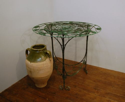 19th century english wirework conservatory garden table in original paint signed