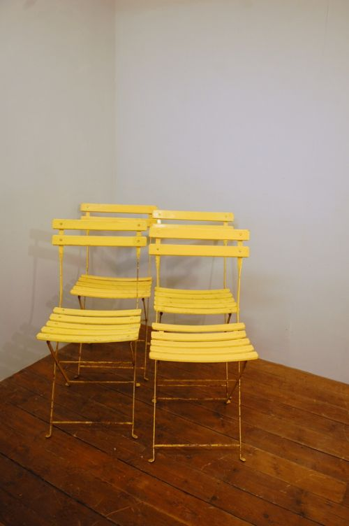 antique set of four french folding garden chairs in original paint 1920