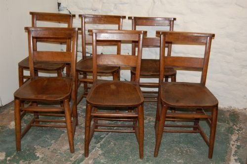 set of six elm chapel chairs
