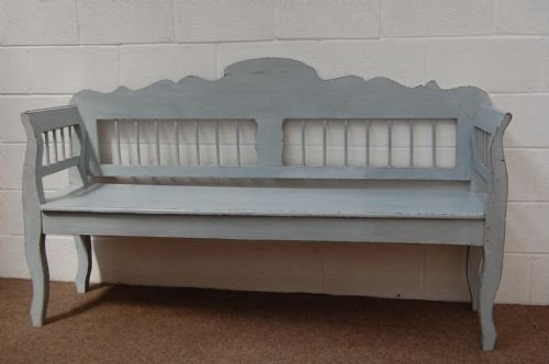 antique painted pine country settle bench