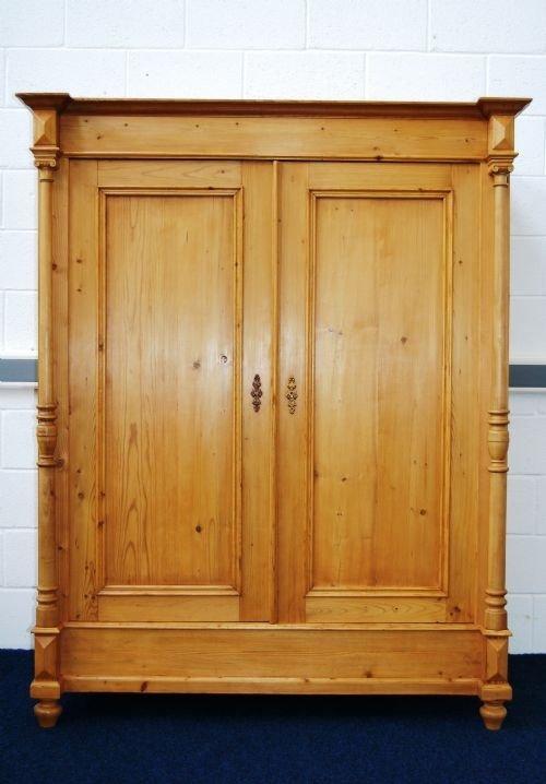 antique pine double wardrobe with columns