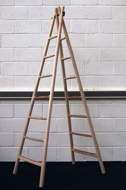 antique french painted fruit picking ladders