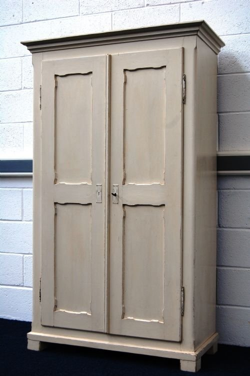 Antique Painted Pine Country Linen Storage Cupboard