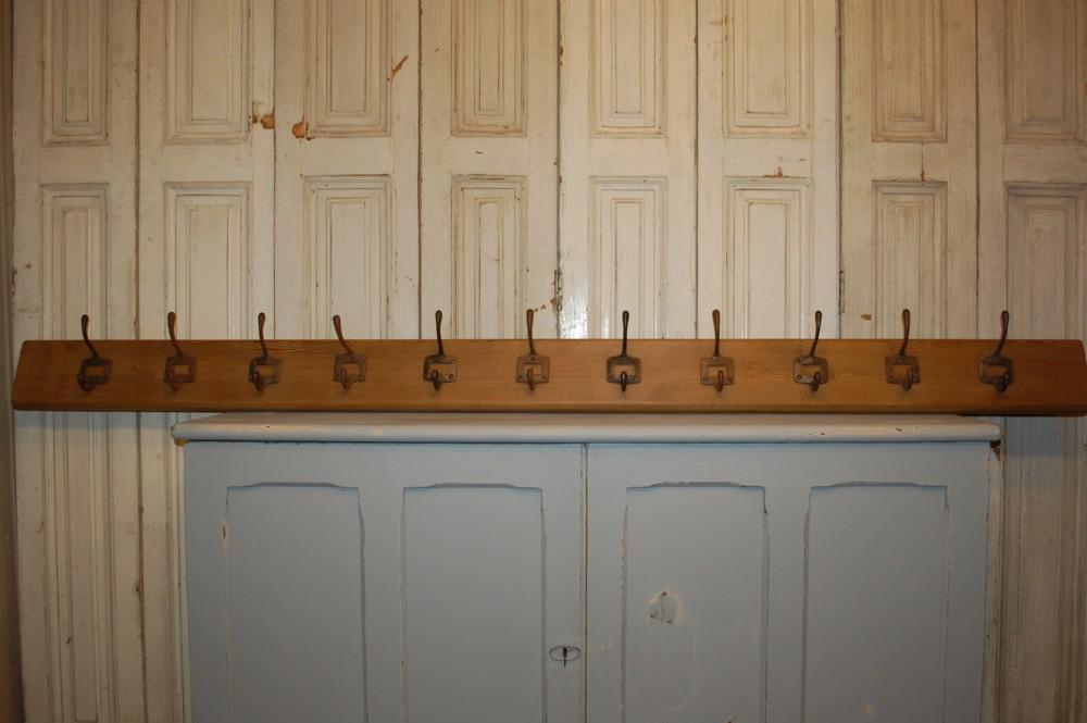 antique school coat hooks on board industrial hook rack