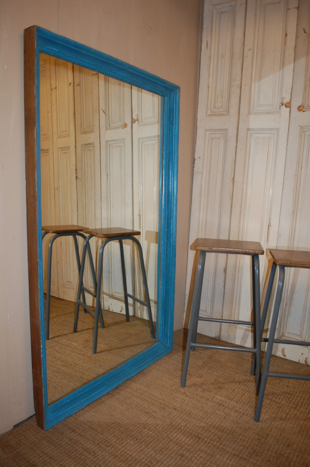 antique painted free standing mirror
