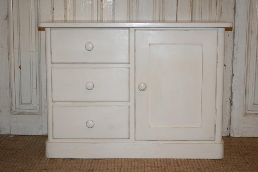 antique pine cabinet low console 1900