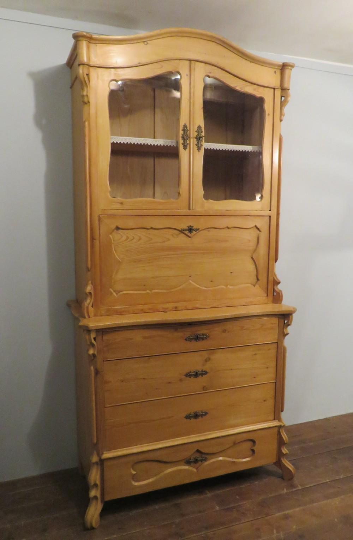 antique louis philippe pine bookcase secretaire 1870