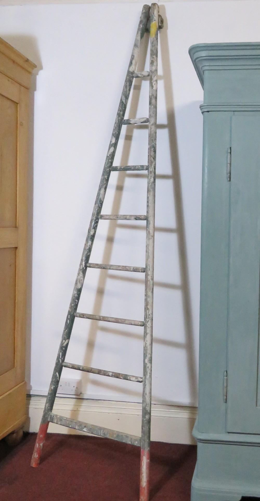 antique french original paint fruit picking ladder 1920