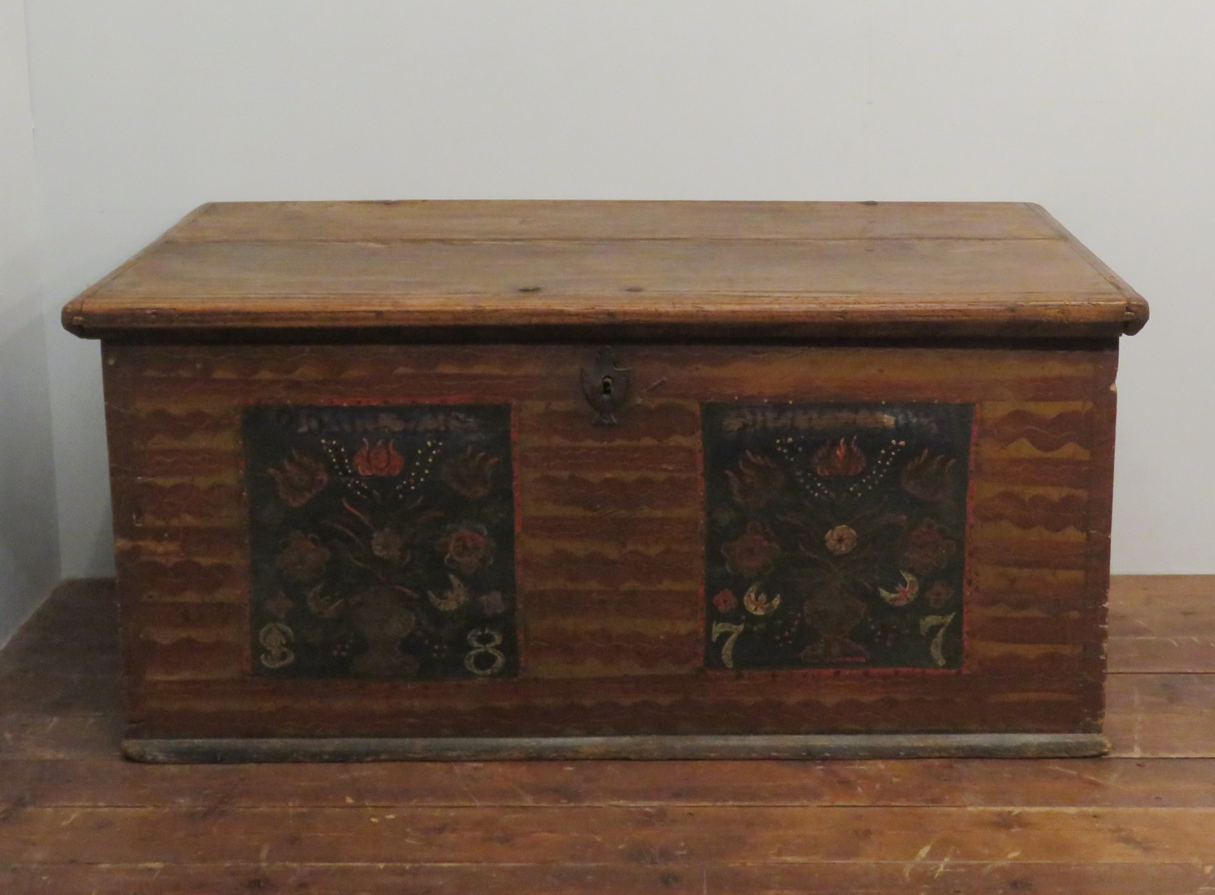 antique pine blanket chest bedding box in original paint 1877 dated