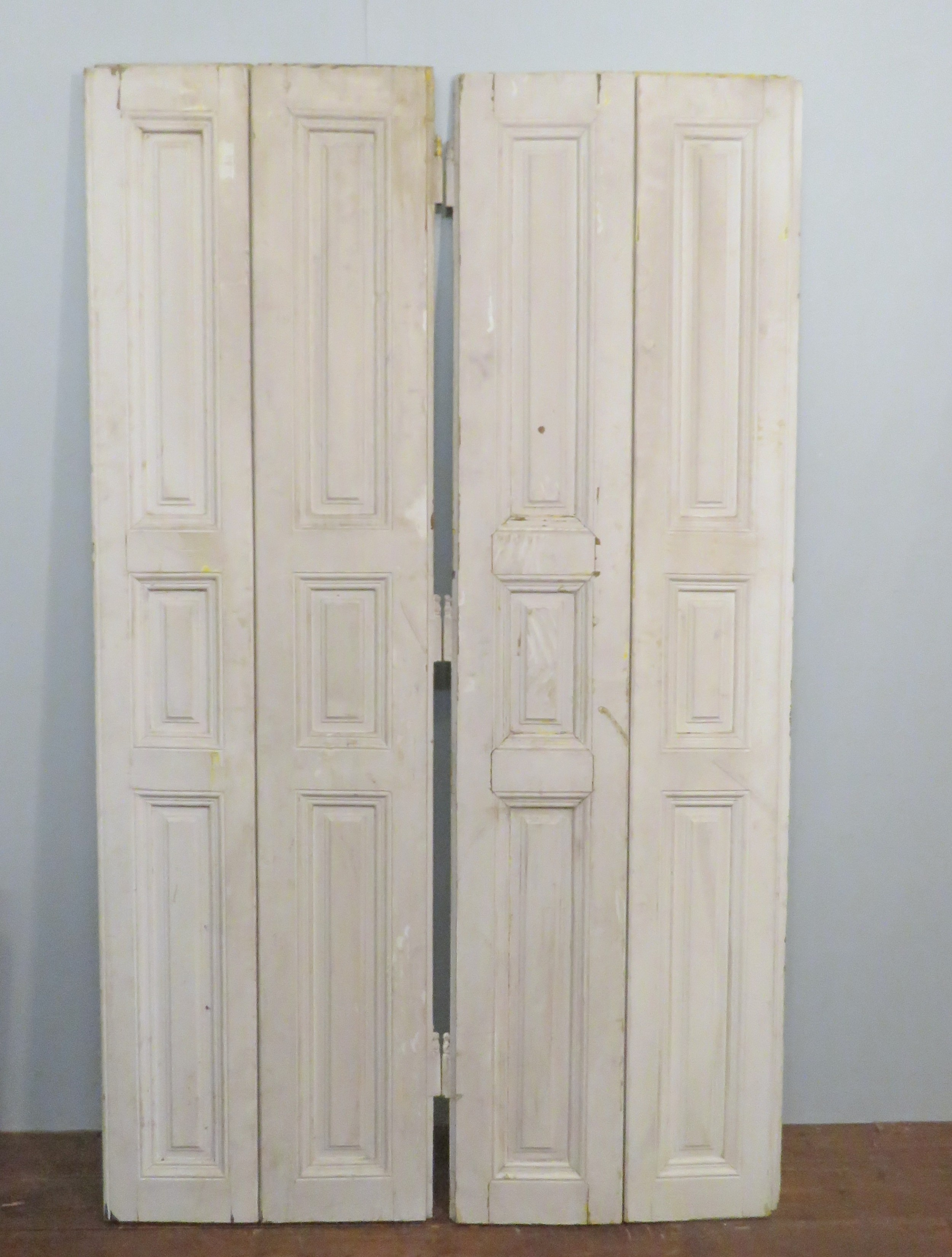 Antique Pine French Window Shutters Old Paint 2 Pairs