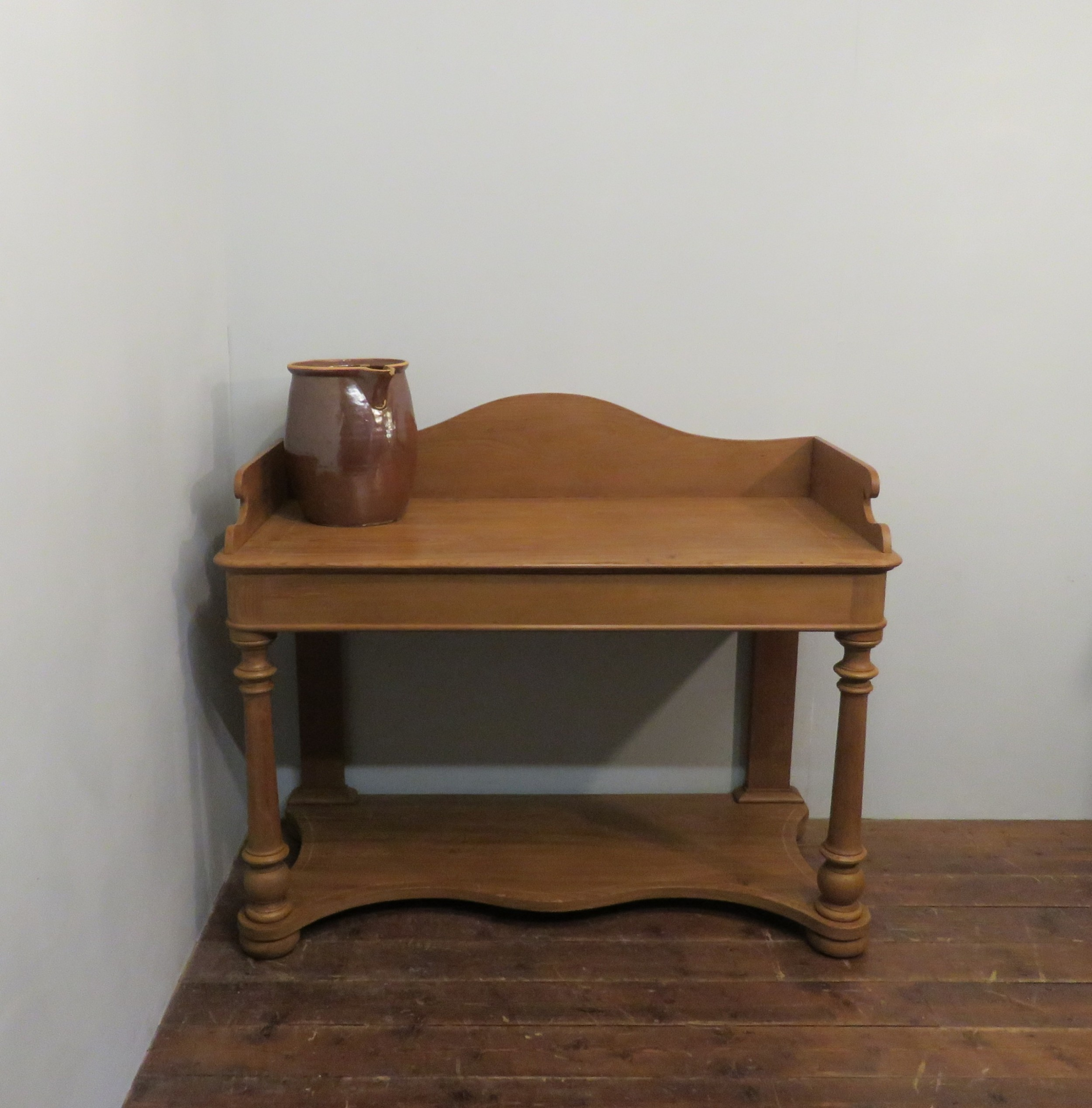 early victorian pine gallery back washstand table 1850