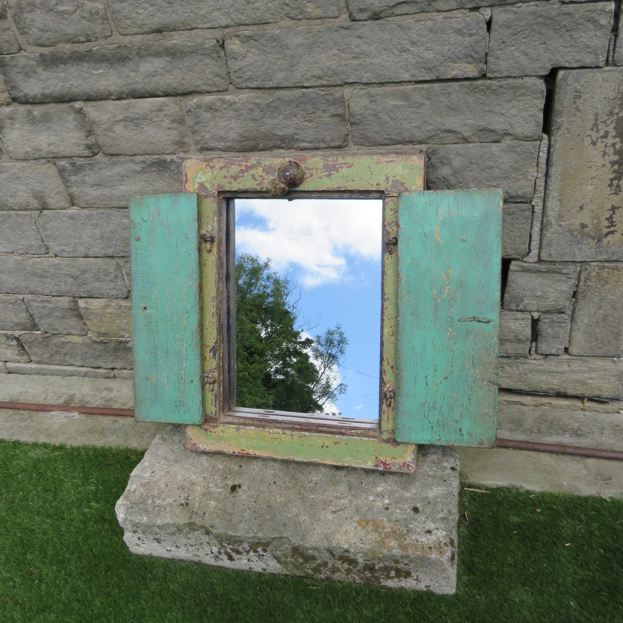antique wall hung mirror with shutters in orignal paint 1850