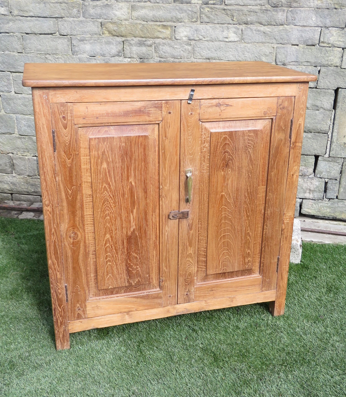 antique rustic teak two door storage cupboard base 1870