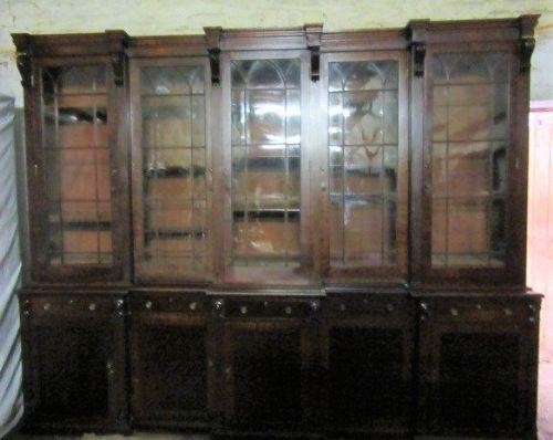 regency mahogany five door breakfront bookcase reduce by 33