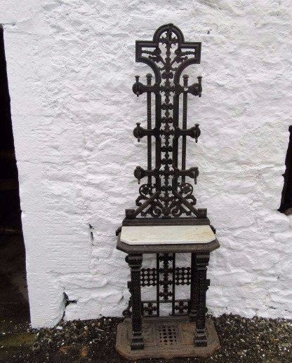 a rare victorian aesthetic cast iron hall stand