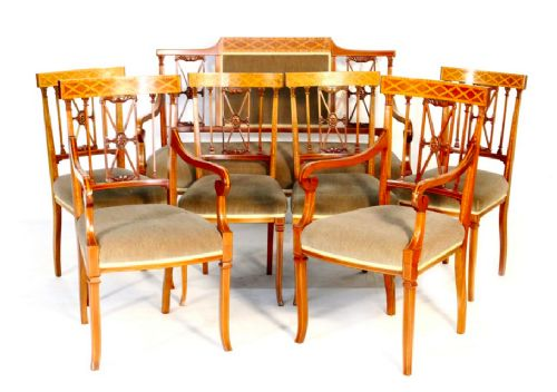 a quality edwardian mahogany inlaid salon suite set of seven chairs