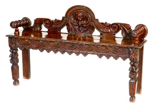 victorian carved oak hall bench circa 1880