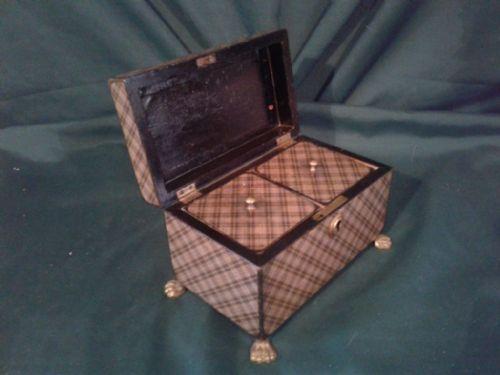 rare late 18th century scottish tartan twin compartment tea caddy