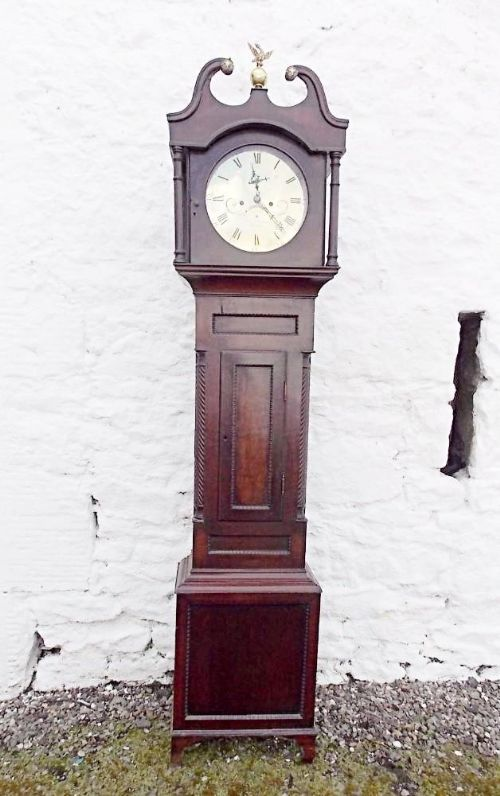 early victorian scottish brass faced 8 day mahogany longcase clock aberdare