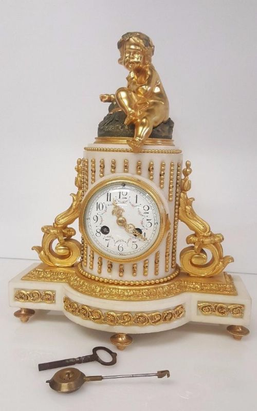 fine 19th century french eight day marble and ormolo mantel clock