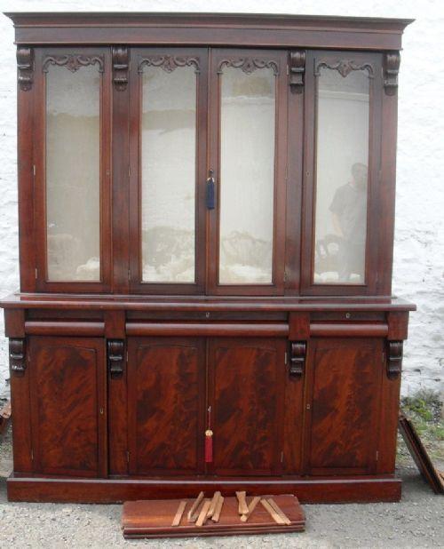 early victorian mahogany 4 door bookcase