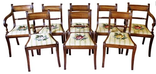 fine set of eight regency sabre legged dining chairs including two carvers reduce by 30