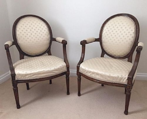 a pair of 19th cent french carved salon bedroom chairs