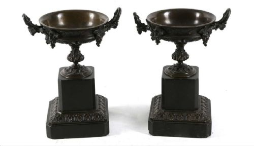 pair 19th century bronze twin handled urns