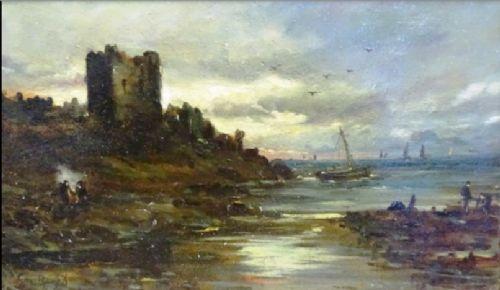 sam bough rsa oil painting 18221878 scottish evening castle aberdeenshire