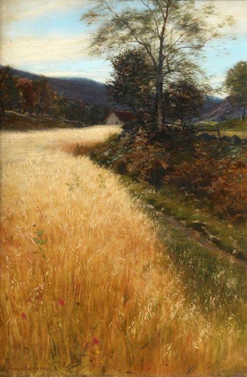 joseph farquharson 18461935 oil painting summer oats field finzean aberdeenshire