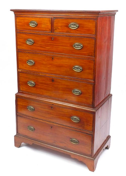 cottage geo iii 18th century mahogany chest on chest