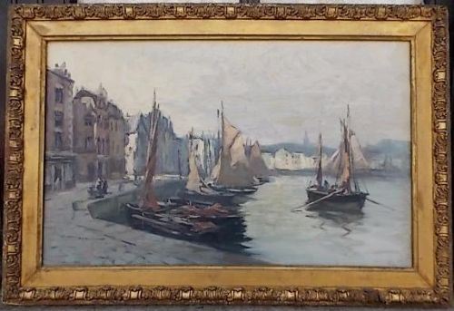 19th cent impressionist oil painting leith docks edinburgh scotland