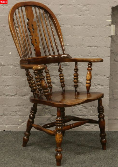 victorian pad arm elm and ash high back windsor chair