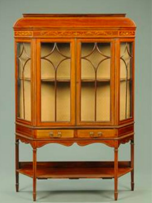 an edwardian inlaid mahogany display cabinet