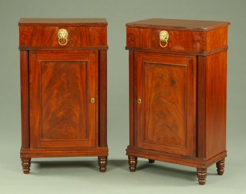 a rare pair of regency period mahogany pedestals sideboards