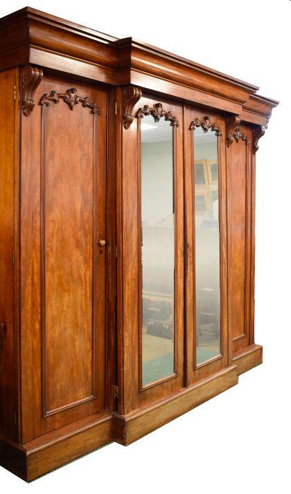 fourdoor victorian mahogany breakfront wardrobe
