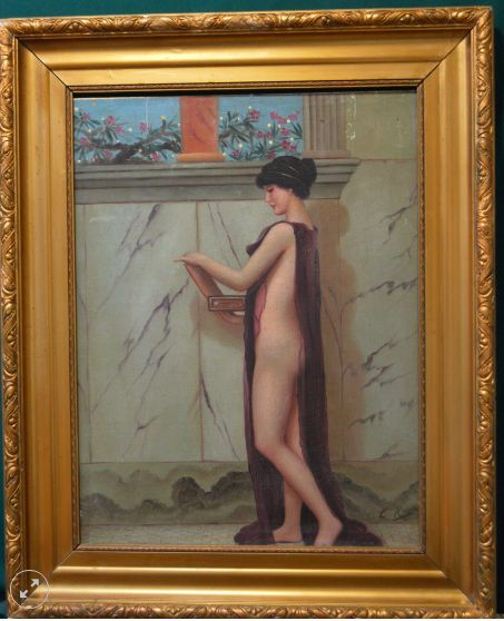 oil on board naked lady in an open gown c1900s