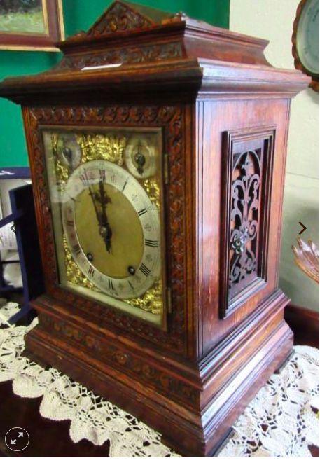 victorian carved oak wh bracket clock