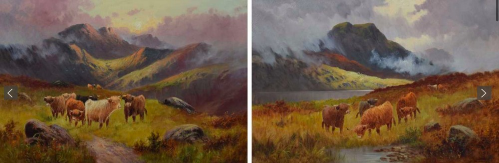 large pair of c w oswald exh 18821900 highland cattle oil paintings