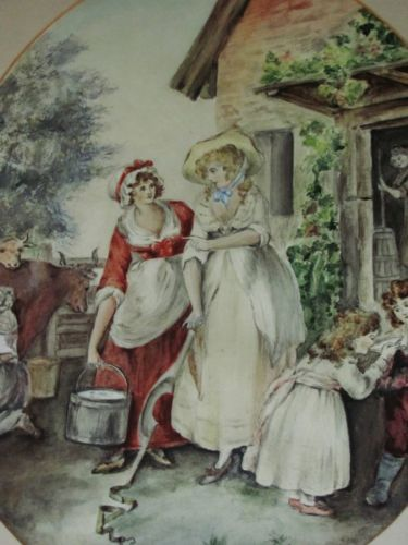 19th century watercolour portrait country scene milk maids farm scene