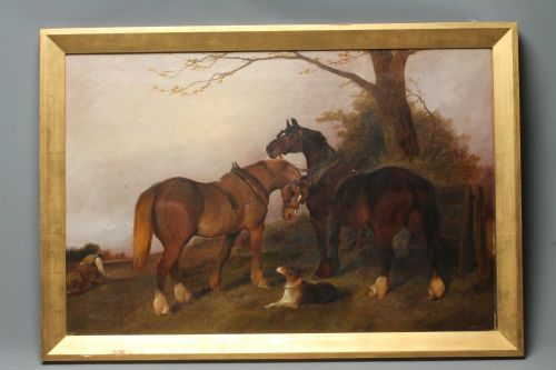 george wright plough team horses and a dog in a landscape oil on canvas