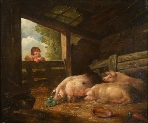 pigs in a barn country scene 18th century landscape attributed to george morland