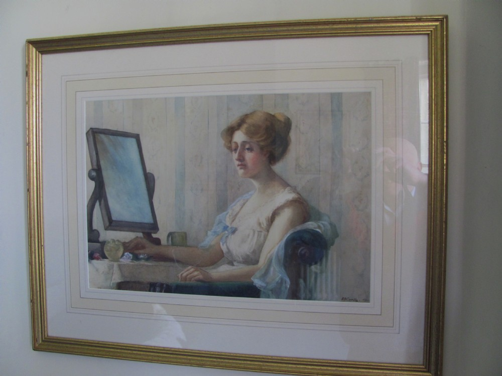 early 20th c portrait attractive female watercolour listed artist k b curtis