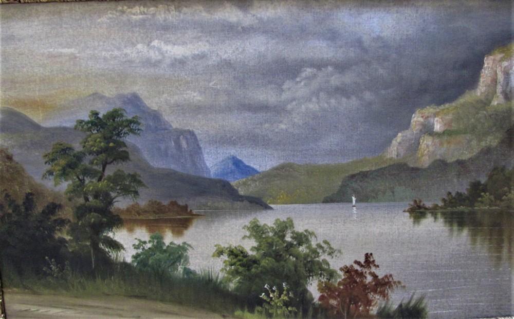19th century oil mountainlake scene large framed manner de breanski